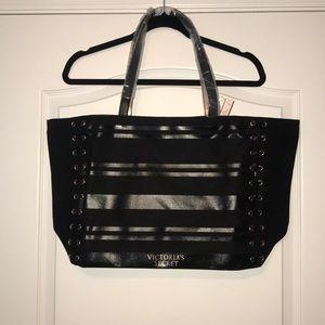 Black Striped Victoria's Secret Tote